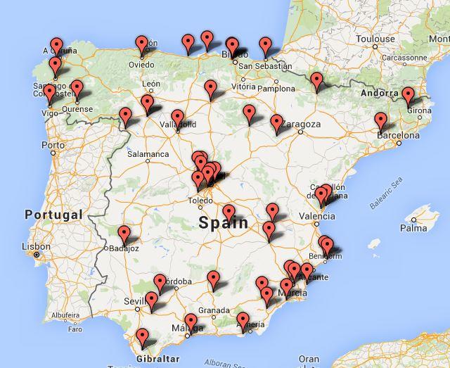Haz clic para ver todas los centro participantes, incluído uno en Tenerife que no se ve aquí.